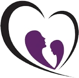 A black heart outline with two purple silhouettes of women facing each other