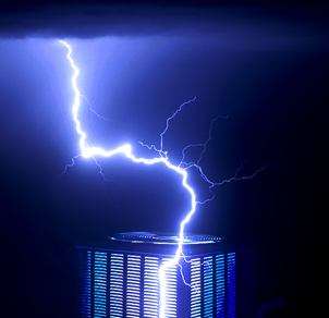 A lightning strike hitting an HVAC unit